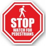 "DuraStripe ""Stop Watch For Pedestrians"" Sign, 12"", Peel-&-Stick, #0031-UEN"