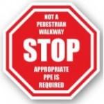 "DuraStripe ""Stop - Not A Pedestrian Walkway"" Sign, 12"", Peel-&-Stick, #0931-UEN"