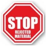"DuraStripe ""Stop - Rejected Material"" Sign, 12"", Peel-&-Stick, #0937-UEN"