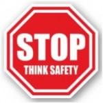 "DuraStripe ""Stop Think Safety"" Sign, 12"", Peel-&-Stick, #0943-UEN"