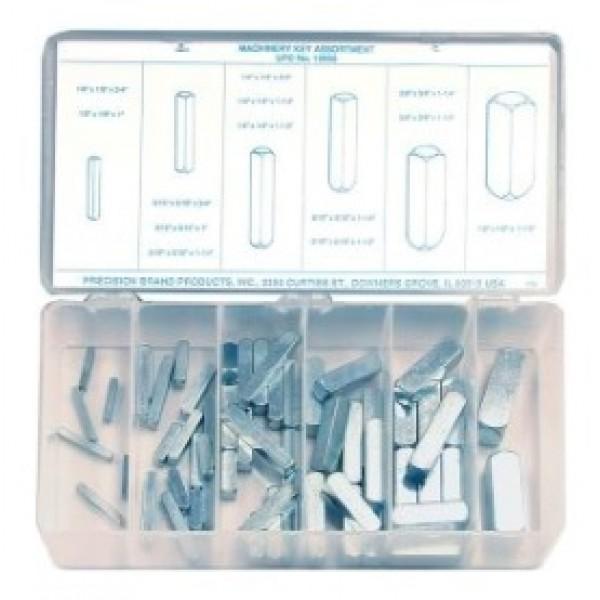 58 Piece Machinery Key Assortment, Steel, 12955